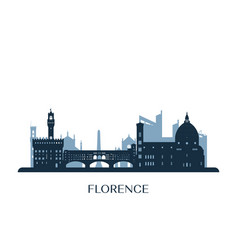 florence skyline monochrome silhouette vector image