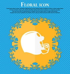 football helmet icon Floral flat design on a blue vector image
