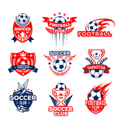 football sport club heraldic icon with soccer ball vector image