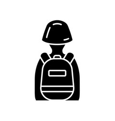 Game soldier with tactical backpack glyph icon vector