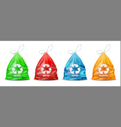 Garbage sorting bags realistic packages for glass vector