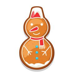 gingerbread cookies snowman merry vector image