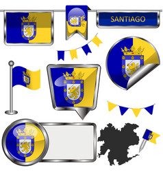 Glossy icons with flag of santiago chile vector