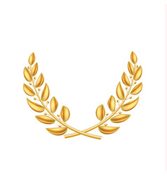 Golden laurel wreath winner shiny sign vector