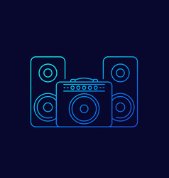 Guitar amplifier and audio speakers linear icon vector