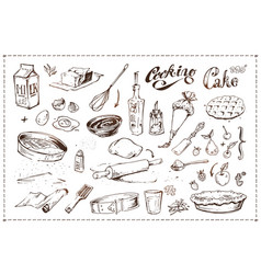 hand drawn ink sketch icons cooking of cake vector image