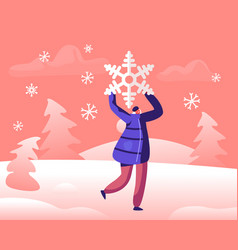 Happy cheerful woman holding huge snowflake above vector