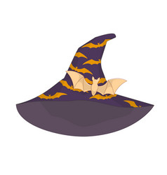 Hat of a witch with bats gold barrette of the bat vector