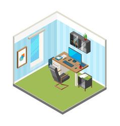 Isometric home workspace designer freelancer vector