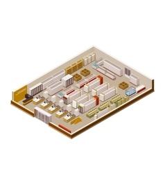 isometric supermarket cutaway vector image