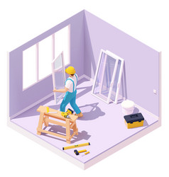 isometric worker at windows installation vector image