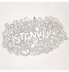 Istanbul city hand lettering and doodles elements vector