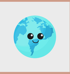 kawaii earth planet icon vector image