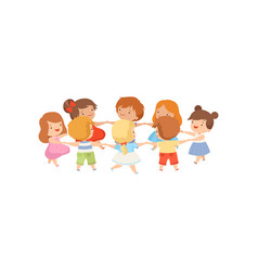 Kids dancing in circle holding hands cute happy vector