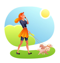 Lady with animals in park flat vector