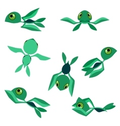 Little baby sea turtles characters vector image