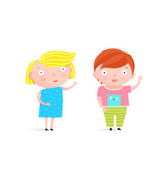 Little kids boy and girl vector