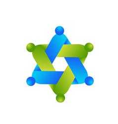 logo crafting teamwork people symbol icon vector image
