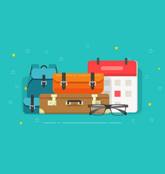 luggage bags flat cartoon vector image