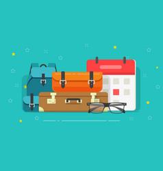 Luggage bags flat cartoon vector