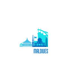maldives city emblem colorful buildings vector image