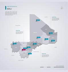 Mali map with infographic elements pointer marks vector