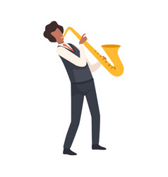 Man playing saxophone male jazz musician vector