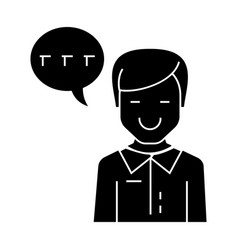 man talking icon black sign vector image