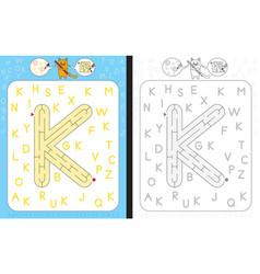 Maze letter k vector