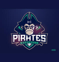 modern professional emblem pirates monkey vector image