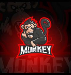 Monkey e-sport logo vector