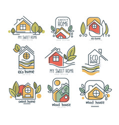 My sweet home logo set eco home wood house vector