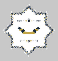navy blue and golden spring floral blank star vector image