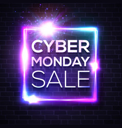 Neon sign with cyber monday text on brick wall vector