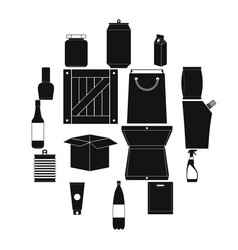 packaging black simple icons set vector image