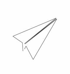 Paper plane icon in line art style plane icon vector