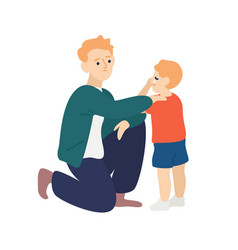 Parent hug and soothe crying child father vector