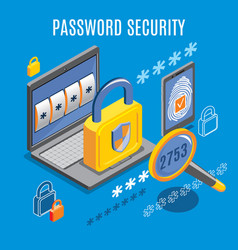 password security isometric background vector image