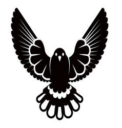 pigeon or dove white bird siluette vector image