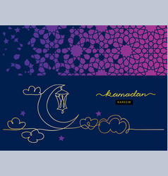 Ramadan night card one continuous line drawing vector