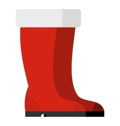 Red rubber boots icon flat style vector