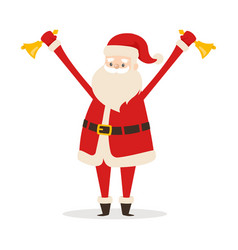Santa with handbells in hands on white backround vector