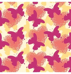 Seamless background butterflies and hearts vector image