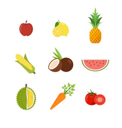 seasonal exotic fruits icons set vector image