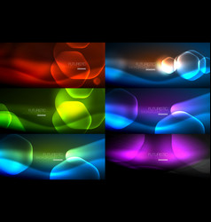 Set of abstract backgrounds - geometric neon vector