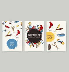set of different barbershop advertising vector image