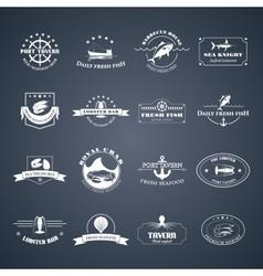 set seafood logos vector image