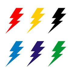 Set thunderbolt sign logo template design vector
