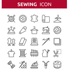 Sewing knitting and needlework line icons vector