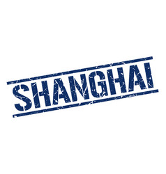 shanghai blue square stamp vector image